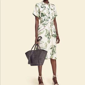 Ann Taylor palm leaf linen blend shirt dress